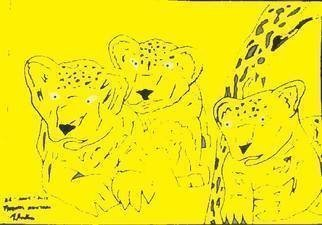 Themis Koutras; 2 Baby Lions And A Qwarler 2, 2019, Original Computer Art, 12 x 8 inches. Artwork description: 241 this art piece is done by computer art and sold as prints over the net...
