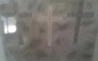 Themis Koutras; 3 Crosses And Light Door, 2019, Original Drawing Pencil, 12 x 8 inches. Artwork description: 241 This is a picture of the 3 crosses as the one in the center is white to represent that JESUS CHRIST is the light of the world while the art is drawn in black pencil it represents that the world is in darkness meaning in sin and ...