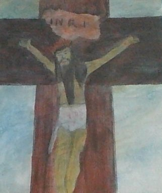 Themis Koutras; Jesus The King, 2019, Original Painting Acrylic, 10 x 12 inches. Artwork description: 241 This is a picture of JESUS CHRIST crucified with a crown instead of thorns it represents that his the KING and he did nothing wrong to be crucified we his people believe him even if he was not crucified we believe him but in this true case ...