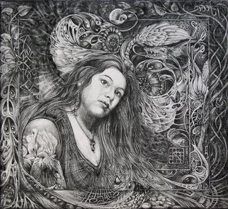 Otto Rapp; CHRISTAN FANTASY PORTRAIT, 2008, Original Drawing Pencil, 15 x 13.5 inches.