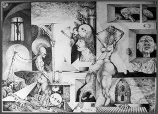 Otto Rapp; Vindobona Altarpiece I, 1993, Original Drawing Pencil, 36 x 28 inches. Artwork description: 241  Overall size with mat and frame. Image size is 30 x 22 inches. The firsat in a series entitled Vindobona Altarpiece. Nr. 2 is in a private collection in Austria. Nr. 3 is in the Artists Collection. ...