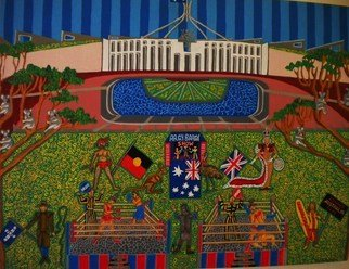 Theodore Kennett Raj; Argy Bargy Arena, 2012, Original Painting Acrylic, 120 x 90 cm. Artwork description: 241    this shows the australian parliment   ...