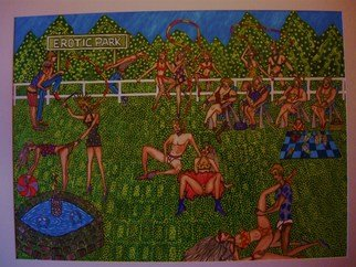 Theodore Kennett Raj; Erotic  Park, 2009, Original Painting Other, 100 x 84 cm. Artwork description: 241  a narrative of a erotic park ...