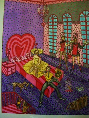 Theodore Kennett Raj; Just  Married, 2009, Original Painting Other, 80 x 103 cm. Artwork description: 241  this picture looks at the humourous aspect of a just married couple who have a instant family ...