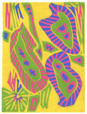 Theo Radic; Kiwi, 2000, Original Printmaking Linoleum, 15 x 20 cm. Artwork description: 241 Hand- printed...