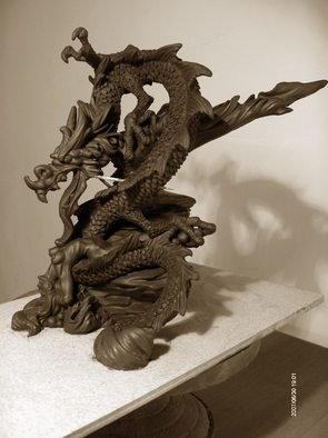 Chaizhiwei Chaizhiwei;  China Dragon  And  Girl , 2007, Original Sculpture Bronze, 25 x 25 cm.