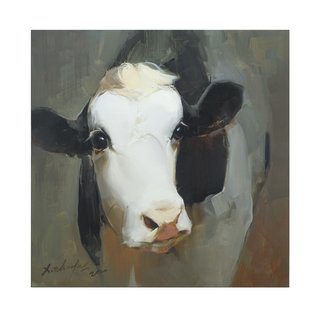 Thomas Xie; Cow Painting On Canvas Art, 2020, Original Painting Oil, 30 x 30 inches. Artwork description: 241  The original painting arrives  stretched . If you want to know other print sizes, please contact me.a--+ ORIGINAL OIL PAINTING PRINT:Original Cow Painting by Thomas Xie. All print hand signed by the artist signature as the picture.a--+ SPECIFICATIONS:  Subject: Cow  Package: Carton  Color: Black, White, Green  Stretched: ...