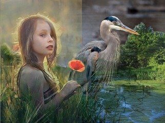 David Kingham; Watchers, 2017, Original Digital Art, 15 x 10 inches. Artwork description: 241 Little girl and a blue heron...