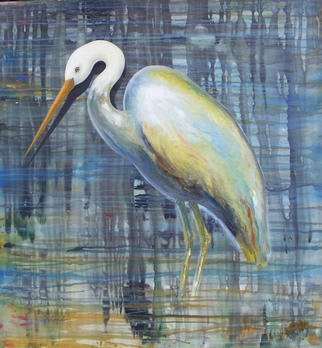 Tim Guider; Blue Egret, 2003, Original Painting Acrylic, 122 x 128 cm. Artwork description: 241 Semi- abstract painting on canvas....