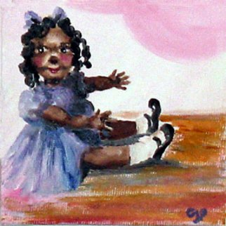 Pamela Benjamin; You Are The Living Doll, 2010, Original Painting Oil, 4 x 4 inches. Artwork description: 241   This is a birthday card I painted in oil for someone who loves dolls. ...