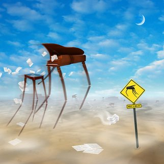 Mike Mcglothlen; The Crossing II, 2010, Original Digital Art, 12 x 12 inches. Artwork description: 241  grand piano, sand, birds, photographer, dali, surreal, fine art, square, desert, sign, branches, benches, crossing, monument valley,sheet music, music,     ...
