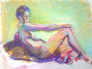 Timothy King; Kelsey Reclined Hand On Knee, 2007, Original Pastel, 14 x 10 inches.