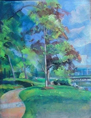 Timothy King; Lords Park Path By Large Pond, 2008, Original Pastel, 12 x 16 inches.