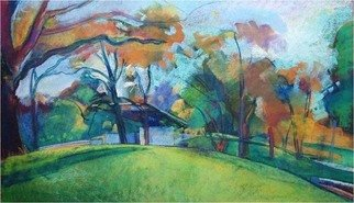 Timothy King; Wing Park Band Shell In Autumn, 2008, Original Pastel, 25 x 16 inches.