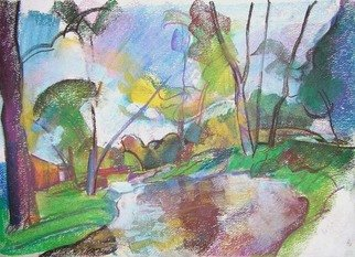 Timothy King; Wing Park Creek 3, 2008, Original Pastel, 14 x 12 inches.