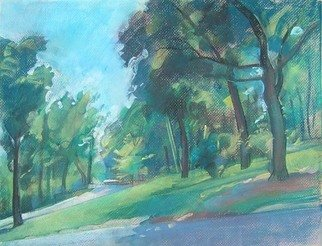 Timothy King; Wing Park Roadway, 2008, Original Pastel, 16 x 12 inches.