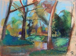Timothy King; Wink Park Creek 2, 2007, Original Pastel, 12 x 16 inches.
