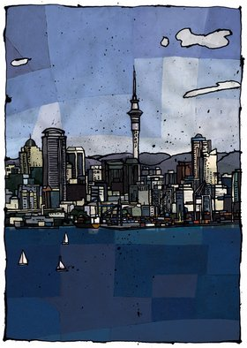 Timon Maxey; Auckland City, 2007, Original Printmaking Giclee, 400 x 570 mm. Artwork description: 241  The image of Auckland City, New Zealand, in this limited edition print run of 25, is assembled in photoshop from hand rendered components. The print is signed in pencil and printed on high quality 300gsm etching paper by Hahnemuhle, Germany.  ...