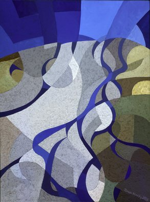 Timon Maxey; Dart River Enters Lake Wa..., 2003, Original Painting Acrylic, 455 x 610 mm. Artwork description: 241  This cubist painting depicts an aerial view of the braided Dart River flowing into the head of Lake Wakatipu, Queenstown, New Zealand. The paint contains gravel texture. ...
