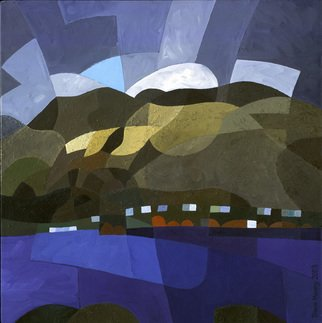 Timon Maxey; View Across Frankton Arm, 2003, Original Painting Acrylic, 455 x 455 mm. Artwork description: 241  View from Queenstown, across Frankton Arm, Lake Wakatipu, New Zealand. ...