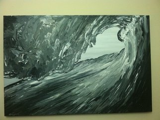 Timothy Sword; Getting Shacked, 2014, Original Painting Acrylic, 36 x 24 inches. Artwork description: 241  Black and white acrylic of getting barreled while surfing ...