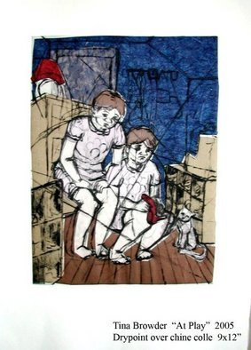 Tina Browder; At Play, 2005, Original Printmaking Other, 8 x 10 inches. Artwork description: 241  Drypoint and Chine Colle ...