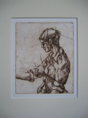 Tina Browder; Figure, 2007, Original Printmaking Etching - Open Edition, 4 x 6 inches.