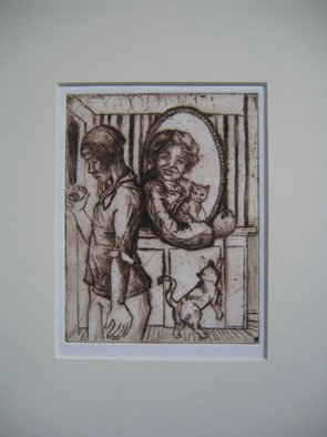 Tina Browder; Looking Glass, 2007, Original Printmaking Etching, 6 x 8 inches.