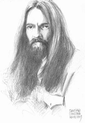 Santiago Londono; George Harrison In 1972, 2005, Original Drawing Pencil, 7 x 10 inches.