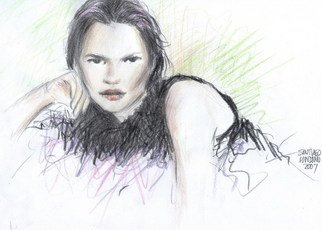 Santiago Londono; Kate Moss, 2007, Original Drawing Pencil, 11 x 9 inches.