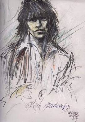Santiago Londono; Keith Richards, 2004, Original Drawing Charcoal, 8 x 11 inches.