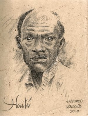 Santiago Londono; Man From Haiti, 2010, Original Drawing Charcoal, 4 x 6 inches.