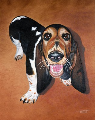 Robert Tittle; IM WAITING, 2001, Original Painting Acrylic, 16 x 20 inches. Artwork description: 241   Acrylic Paintings/ Dogs/ Pets/ Hound Dog    ...