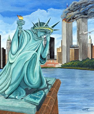 Robert Tittle; PERILS OF LIBERTY   , 2004, Original Painting Acrylic, 16 x 20 inches. Artwork description: 241  Acrylic Paintings/ Liberty/ Art by Tittle/New York/ World conflict/ Statue of Liberty/     ...