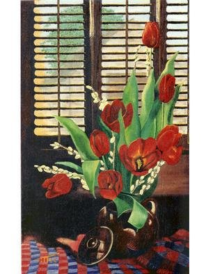 Robert Tittle; TULIPS By The Window     ..., 1999, Original Painting Oil, 16.5 x 26.5 inches. Artwork description: 241  TULIPS by the window     26. 5 x 16. 5         Oil on burlap While working on this painting, and thinking I was about done, my mother- in- law ( Jean Marsh) who is an artist also, and has won many awards, ask why I didn' t open the ...