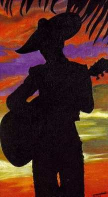 Robert Tittle; Spanish Serenade, 1970, Original Painting Oil, 24 x 42 inches. Artwork description: 241 Romance, Music, Spanish, Serenade, ...