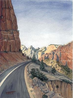 Robert Tittle; Zion Switchback, 2004, Original Painting Acrylic, 11 x 14 inches. Artwork description: 241 Zion National Park, Landscape, Out West, Mountains ...