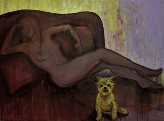 Tiziana Fejzullaj; Dog In Bed, 2016, Original Painting Oil, 36 x 48 inches. Artwork description: 241  Dog in Bed...