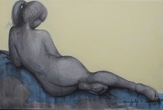 Tiziana Fejzullaj; Lying Nude, 2015, Original Painting Oil, 24 x 36 inches. Artwork description: 241 OilAcrylic...