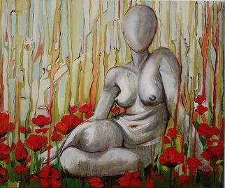 Tiziana Fejzullaj; Nude In A Poppy Field, 2014, Original Painting Oil, 20 x 24 inches. Artwork description: 241  Oil  Acrylic ...