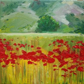 Tiziana Fejzullaj; Poppies, 2015, Original Painting Oil, 10 x 10 inches.