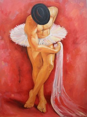 Tiziana Fejzullaj; The Man With Tutu, 2015, Original Painting Oil, 40 x 32 inches.