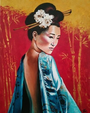 Krisztina T.Molnár; Harmony, 2020, Original Painting Acrylic, 80 x 100 cm. Artwork description: 241 AsiaaEURtms brilliant past appears on a traditional girl wearing a turquoise dress.  Turquoise encompasses the spirit, facing the human body, serenity and harmony, emotionality and intuition.  Red and gold, helps bring light and joy back to life, warms the house, and casts out evil spirits. ...