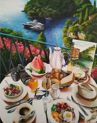Krisztina T.Molnár; Carefree Morning In Portofino, 2020, Original Painting Acrylic, 80 x 100 cm. Artwork description: 241 Cloudless joy, satisfaction.  La vita A