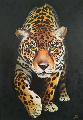 Krisztina T.Molnár; Jaguar, 2019, Original Painting Acrylic, 70 x 100 cm. Artwork description: 241 The name jaguar comes from an Indian word meaning: who cold cocks you with a leap.It has no opponent in the wilderness, it can hide well. It is the embodiment of true strength and power....
