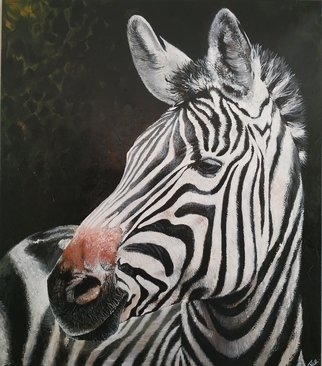 Krisztina T.Molnár; Zebra, 2019, Original Painting Acrylic, 100 x 115 cm. Artwork description: 241 It is the most skillful hiding animal, the master of covering- up. ...
