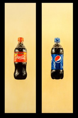 Todd Mosley; Coke Versus Pepsi Diptych, 2009, Original Painting Oil, 16 x 27 inches.