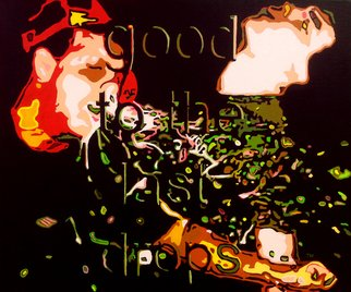 Todd Mosley; Good To The Last Drops, 2014, Original Painting Acrylic, 24 x 20 inches. Artwork description: 241     painting, figure, pop art, color, funny, ad, text cutout              ...