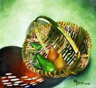 Miriam Besa; Avocado And Pears In Basket, 2018, Original Painting Oil, 18 x 18 inches. Artwork description: 241 Avocado with 2 pears in a basket in a photo pose - a patterned reflection shadow of the basket against a green filtered background adds drama to this setting. Green cast on some parts of the basket accentuates the delicious avocado in contrast to the rich looking pears. ...