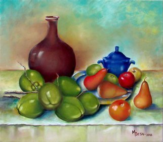 Miriam Besa; Ensemble Of Coconut And Fruits, 2018, Original Painting Oil, 27 x 24 inches. Artwork description: 241 Brown vase, cobalt blue container with coconuts, orange and a plate of pears, apples rhythmically arranged on a draped table.  The defined shadows on the table and the folds of the drapery add drama and significance to this still life. ...